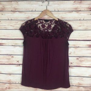 Banana Republic Lace Blouse Short Sleeve Red Small